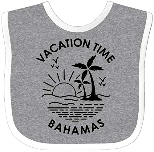 Inktastic - Vacation Time in Bahamas Baby Bib Heather/White 3018b