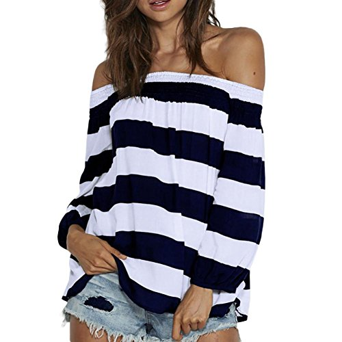 - KFSO Women's Sexy Off Shoulder Tops Loose Long Sleeve Casual Blue and White Stripe T Shirt Blouses Tees (Blue, XL)