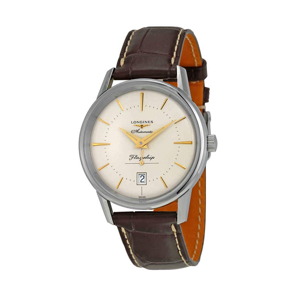 2dad88e9e94 Amazon.com  Longines Heritage Flagship Silver Dial Brown Leather Mens Watch  L47954782  Longines  Watches