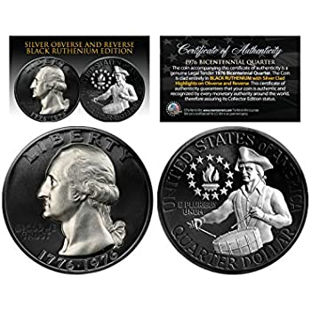 1976 Original Bicentennial Quarter 2-Sided BLACK RUTHENIUM Set of All 3 Versions