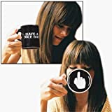 Vansaile Have a Nice Day Mug Middle Finger Cute Mugs - Funny Saying Flip Off Ceramic Coffee Cup with Black