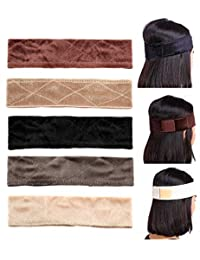 Adramata 5 Pack Velvet Wig Grip Band Comfort Head Hair Band Adjustable Fastern Brown and Black Set