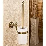 Toilet Brushes Antique Brass Toilet Brush Set Holder Brush + Ceramic Cup + Bar Wall Mount Bathroom Cleaning Toilet...