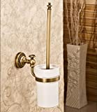 Toilet Brushes Antique Brass Toilet Brush Set Holder Brush + Ceramic Cup + Bar Wall Mount Bathroom Cleaning Toilet for Bathroom Hotel Storage
