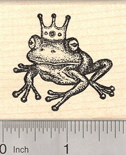 - Frog Prince Rubber Stamp, with Crown, Fairy Tale, European Folklore, Fantasy