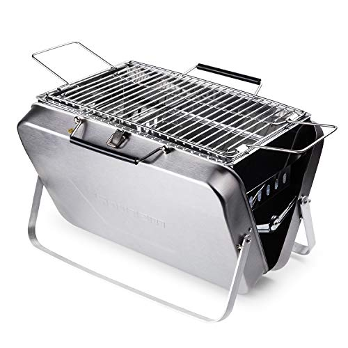 (Sougem Portable Charcoal Grill Stainless Steel Folding Barbecue Grill,Small Size,Silver)