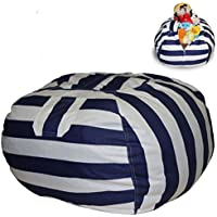 EXTRA LARGE Stuffed Animal Storage Bean Bag Chair with Extra Long Zipper, Carrying Handle, Large Size at 32, 100% Sturdy Cotton. Excellent Solution for Toys and Clothes, Available For Boys And Girls