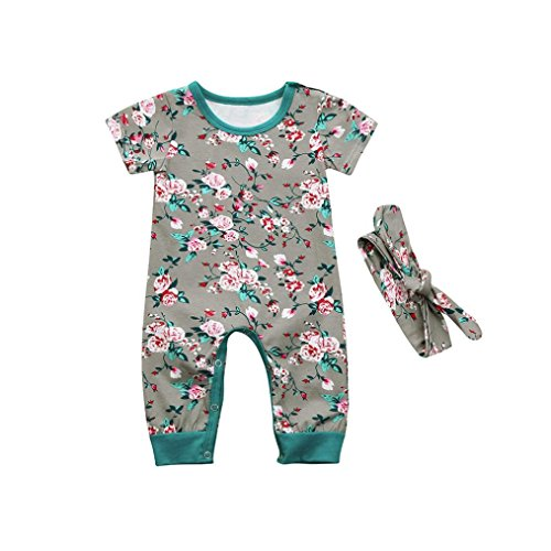 FEITONG 2pcs Toddler Baby Girls Boys Short Sleeve Floral Clothes Jumpsuit Set Romper+Headband Outfits