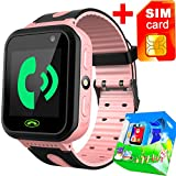 Kids Smart Watch Phone with Free SIM Card for Girls Boys GPS Tracker Locator Touch Camera Games Flashlight SOS Outdoor Digital Wrist Cellphone Watch Bracelet for Sport Camping Birthday Holiday (Pink)