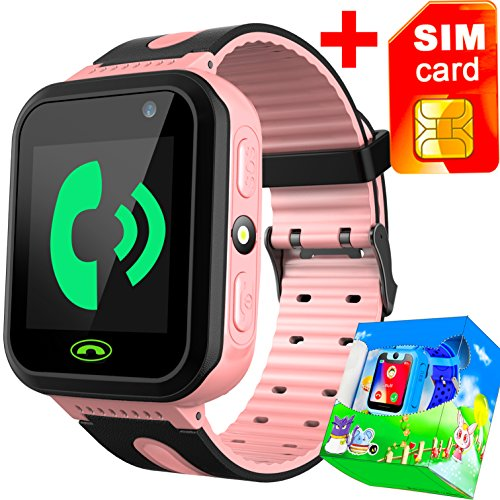 Kids Smart Watch Phone with Free SIM Card for Girls Boys GPS Tracker Locator Touch Camera Games Flashlight SOS Outdoor Digital Wrist Cellphone Watch Bracelet for Sport Camping Birthday Holiday (Pink) by GreaSmart
