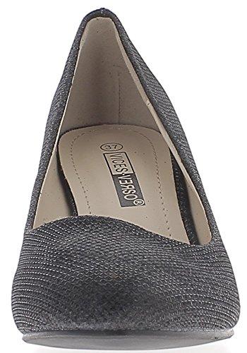 ChaussMoi Lentejuelas Pequeñas Bombas Negro Mujer Zapatos de Tacón 6,5 cm