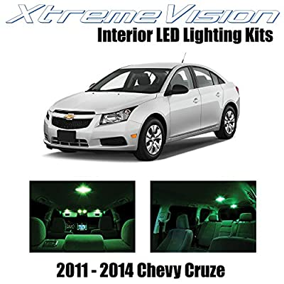 Xtremevision Interior LED for Chevy Cruze 2011-2014 (12 Pieces) Green Interior LED Kit + Installation Tool: Automotive
