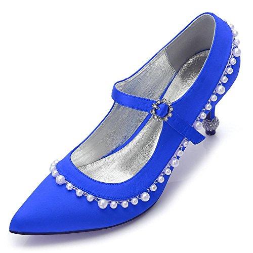 Zapatos de Boda de Las Mujeres G17767-40 Primavera Verano Otoño Invierno Rhinestone Y Gatito con Novela Y Cómodo Blue