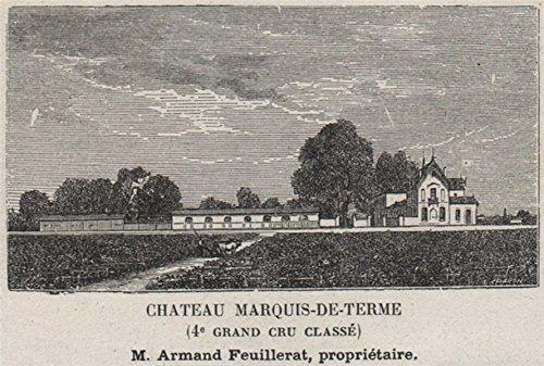 MÉDOC. Margaux. Chateau Marquis-de-Terme (4e Grand Cru Classé). Small - 1908 - Old Print - Antique Print - Vintage Print - Printed Prints of Gironde