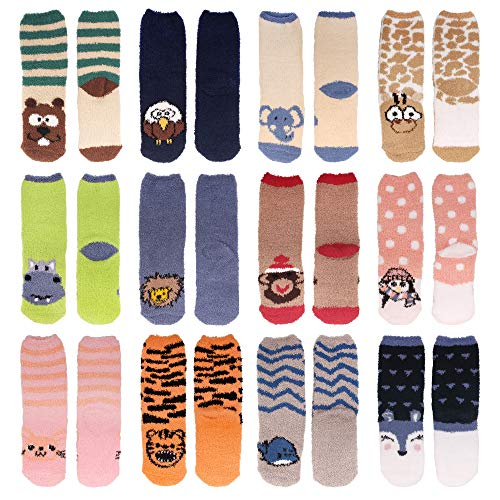 Beaver Fuzzy (Women's Super Soft Warm Microfiber Fuzzy Cozy Animal Crew Socks, Asst 12, 12 Pairs)