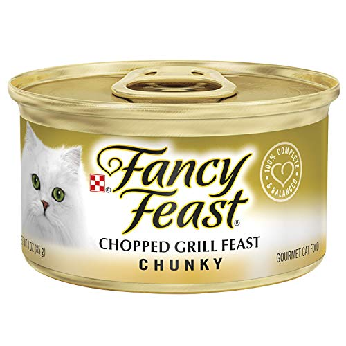 Purina Fancy Feast Pate Wet Cat Food; Chunky Chopped Grill Feast - (24) 3 oz. Cans