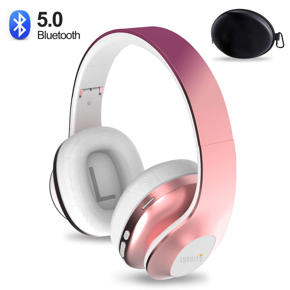 Over Ear Bluetooth Headphone,Sunvito Wireless Stereo Headset V5.0 with Built-in Mic, Foldable Soft Earmuffs,Support TF Card MP3 and FM Radio for Cellphones Laptop TV Rose Gold