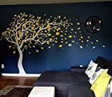 Pop Decors ''White/Yellow Tree Blowing Right to the Wind'' Beautiful Wall Stickers for Kids Rooms