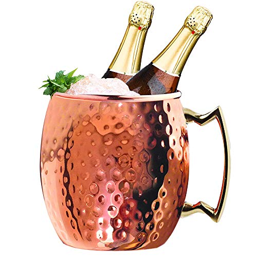 Jolitac Moscow Mule Copper Ice Bucket 5 Quart Party Bucket Drinks Cooler with Carry Handle for Wine Champagne Beer Prosecco 5L Rose Gold