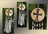 Mini Silver Black Templar Sacred Holy Cross Pottery Ceramic & Fused Glass WindChime