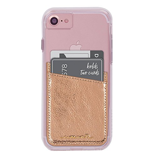 Pocket Hugger (Case-Mate - Stick On Credit Card Wallet - POCKETS - Ultra-slim Card Holder - Universal fit - Apple – iPhone – Samsung – Galaxy - and more – Rose Gold)