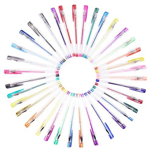 Bluehorn Premium Gel Pens Set 36 Assorted Color Sparkle Gel
