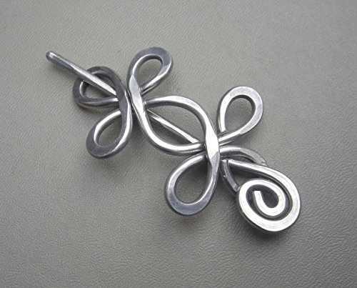 Celtic Double Crossed Loops Aluminum Shawl Pin, Handmade in Oregon USA, Knitter Gift