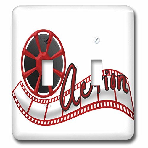 3dRose lsp_222675_2 Cinema Movie Reel and The Word Action in Red and White - Double Toggle Switch by 3dRose