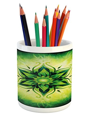 Ambesonne Lotus Pencil Pen Holder, Psychedelic Floral Mandala Ethnic Meditation Mystic Sacred Digital Image, Printed Ceramic Pencil Pen Holder for Desk Office Accessory, Emerald Lime Green by Ambesonne