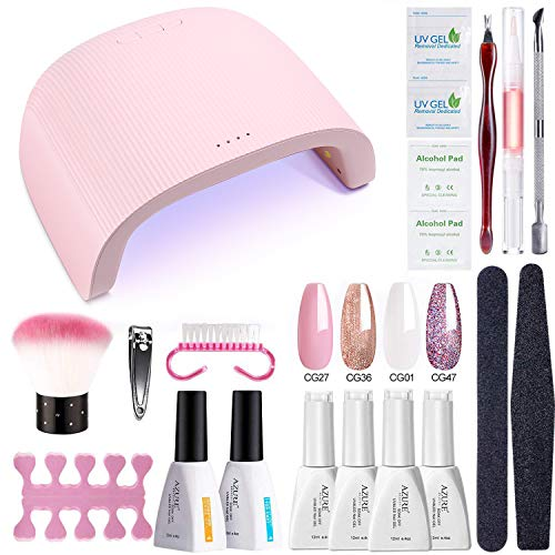 AZUREBEAUTY Gel Nail Polish Starter Kit with 48W UV/LED Lamp (3 Timer Setting),Base and Top Coat, Manicure Tools + Pink Glitter 4 Colors Gel Polish(12ml)
