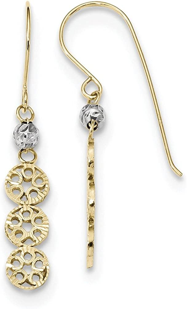 Lex /& Lu 14k Two-tone Gold Polished D//C 3-Circles Shepherd Hook Earrings