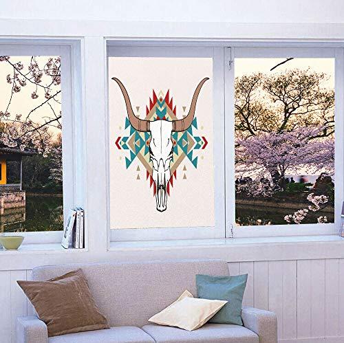 (YOLIYANA Stained Glass Window Film,Western,for Bathroom Shower Door Heat Cotrol Anti UV,Bull Skull Illustration with Ethnic Ornament Tribal Geometric,24''x36'' )