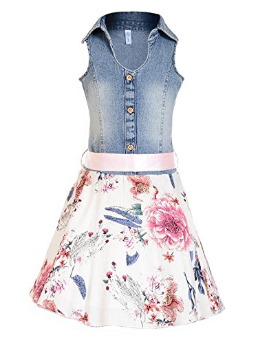 3295a68f4 Naughty Niños Girl s Floral Printed Denim Tunic Dress (NN00288DRS ...