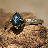 Oval-cabochon-blue-star-sapphire-ring-in-sterling-silver-bezel-and-brass-prong-setting-with-heavily-textured-silver-band