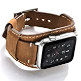 Leotop Compatible with Apple Watch Band 44mm 42mm Men Women Genuine Leather Compatible iwatch Bracelet Wrist Strap Compatible Apple Watch Series 4/3/2/1 (Crazy Horse Cuff Brown, 44/42mm)
