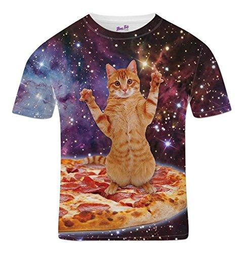 Bang Tidy Clothing Camisetas Totalmente Impresas por sublimación para Hombre con Gato Espacial Ropa para Festivales