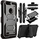 zte zmax swivel clip - ZTE Blade Z MAX/Sequoia Z982/ZTE Blade ZMax Pro 2 Case,Heavy Duty Shockproof[Kickstand]【Belt Swivel Clip】Dual-Layer Full Body Armor Rugged ProtectionCase With Built-in Screen Protector (Grey)