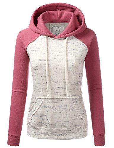 NINEXIS Womens Long Sleeve Marled Oatmeal Raglan Pullover Hoodie Sweatshirt BEGONIAPINK L (Ladies Raglan Hoodie)