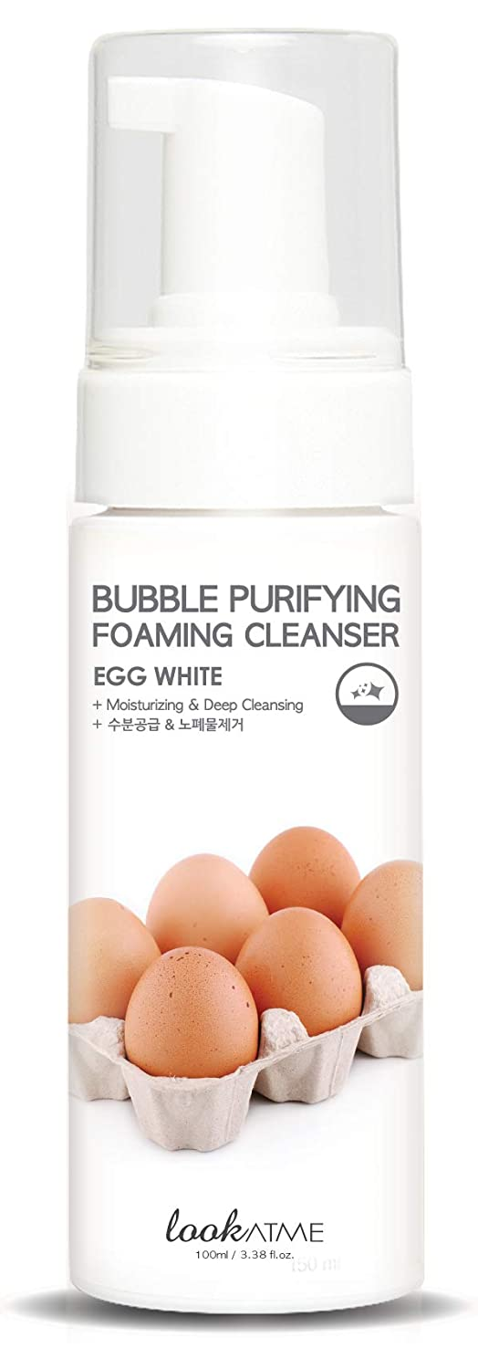 Look At Me Korean Skincare Bubble Purifying (EGG-WHITE) Foaming Facial Cleanser | Daily Hydrating Face Wash for all Skin Types