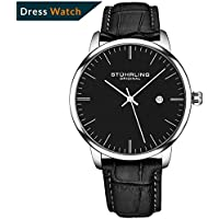 Stuhrling Original Mens Watch Calfskin Leather Strap - Dress + Casual Design - Analog Watch Dial with Date, 3997Z Watches for Men Collection (Black Silver)
