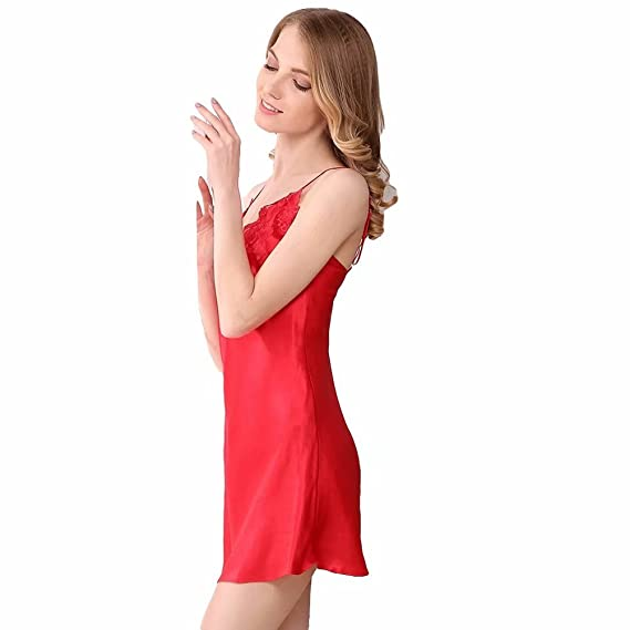 22e72f341d Women s Nightgown 100% Silk Sexy Lace Thin Two Piece Satin Lingerie Pajamas  Sleepwear Home Dress