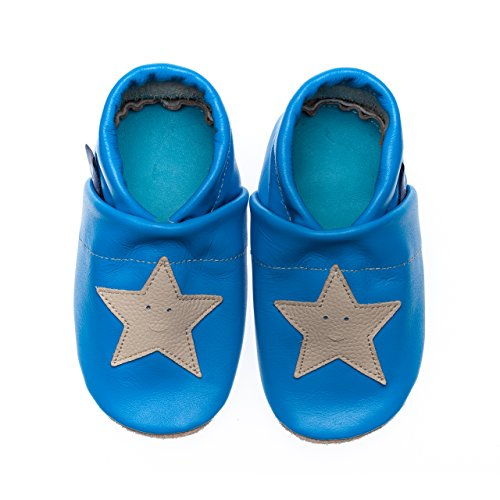 pantau Leder Krabbelschuhe Lederpuschen Babyschuhe Lauflernschuhe mit Sternen, 100% Leder HELLBLAU_BEIGE