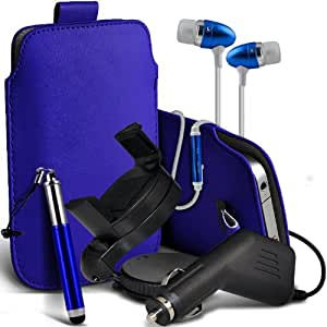 Nokia Lumia 710 premium protección PU ficha de extracción de deslizamiento del cable En caso de la cubierta de la piel de la bolsa de bolsillo, superior de la calidad en auriculares de botón estéreo de manos libres de auriculares Auriculares con micrófono Mic y botón de encendido y apagado, retráctil Sylus Pen, 12v Micro Cargador de coche e 360 Rotating Carholder del montaje del coche de color azul oscuro por Spyrox