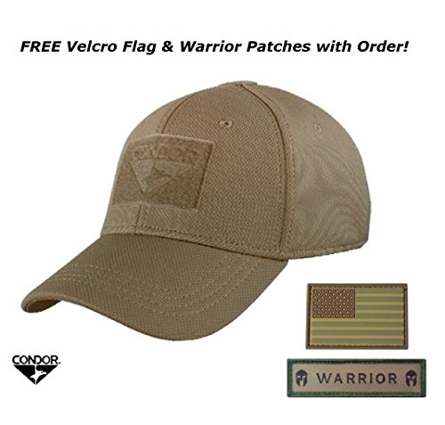 Condor Flex Tactical Cap (Brown, S/M) + FREE PVC Flag Patch by Condor Outdoor (Condor Outdoor Tactical)