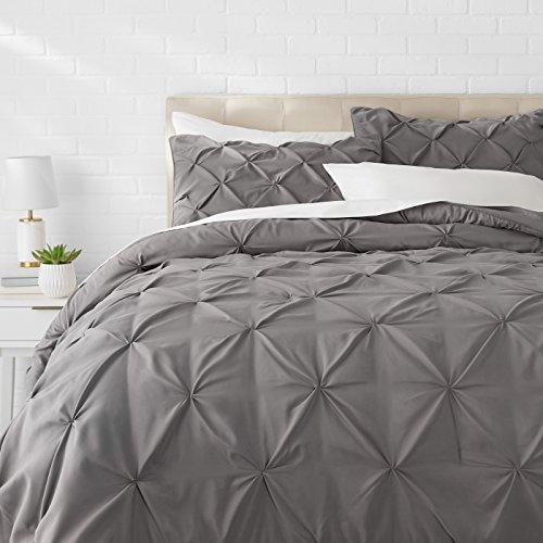 AmazonBasics Pinch Pleat Comforter BeddingSet, Full / Queen, Dark Grey