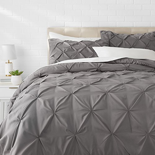 (AmazonBasics Pinch Pleat Comforter Set - Full/Queen, Dark Grey)