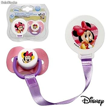DISNEY. SUJETA CHUPETE + CHUPETE CAUCHO MINNIE-8917: Amazon ...