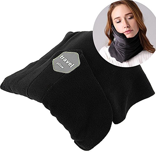 (Travel Pillow Scientifically Proven Super Soft Neck Support Machine Washable Very Easy Attachable to Luggage Comfortable Compact Lightweight Neck Pillow Scarf Black Color Best for Plane Bus Car Voyage)