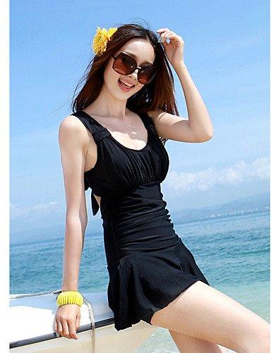 Damen Mehrteiler - Einfarbig/Bandage Push-Up/Gepolsterte BHs/Bügel-BH Polyester/Elasthan Halfter , black-2xl , black-2xl