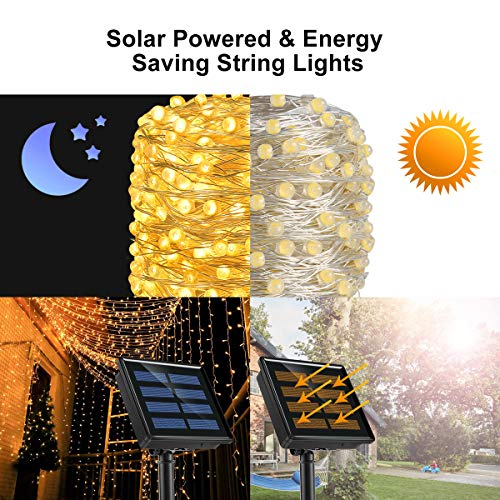 Ankway Solar Powered String Lights 200LED Solar String Lights for Outdoor Home Bedroom Window Galentine's Gathering Valentine's Date Decor, Warm White
